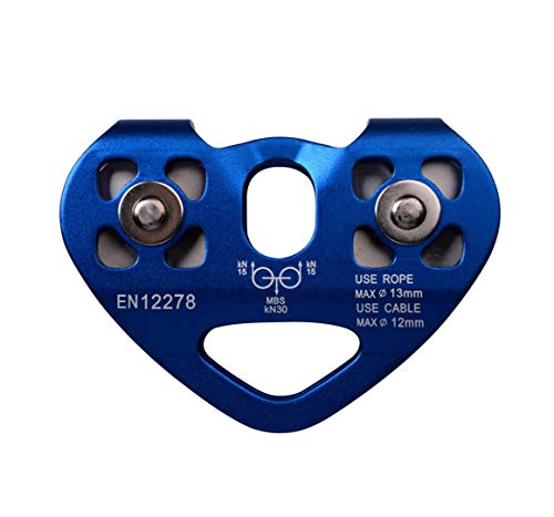 Rpuomtz Tandem Speed Dual Pulley 30KN Zip Line Rescue Trolley Outdoor Rock Climbing Equipment (Blue)