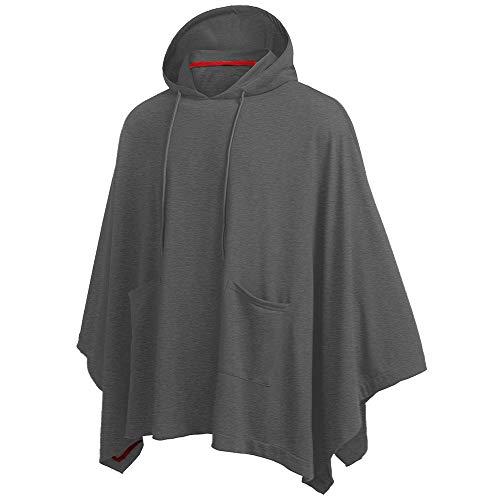 qulvyushangmaobu Herren Loose Bat Sleeves Hooded Unregelmäßiges Patchwork Poncho Cape Coat Herren Loose Tops Unregelmäßiger Saum Fashion Coat Hoodie Pullover mit Tasche