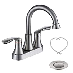 """OVERALL MEASUREMENTS: Height:8.48""""; Spout Height:5.3""""; Spout Reach:4.68"""" Solid metal construction with 2 handles for easy control of water flow and temperature. Nickel brushed finish performs corrosion/tarnishing and water spot resisting,easy to clea..."""