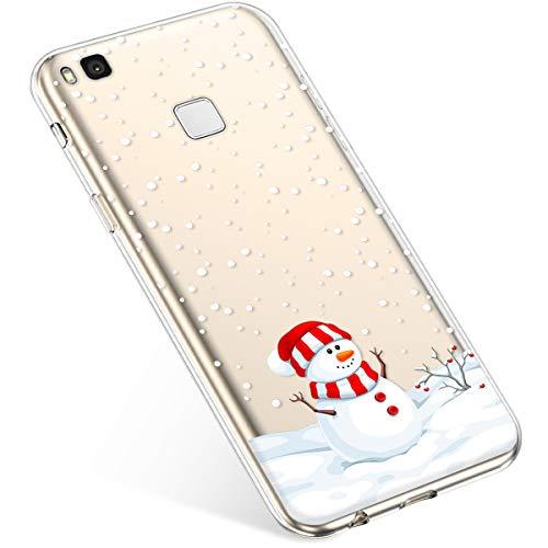 Uposao Custodia Cover Compatibile con Huawei P9 Lite, [Natale Serie] Trasparente TPU Custodia con Disegni Natale Xmas Christmas Ultra Sottile Silicone Prottetiva Caso-(Natale#4)