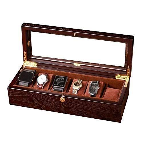 ZhenHe Caja de reloj a prueba de polvo, 6 cajas de reloj de madera, exhibición de joyas, bandeja de almacenamiento de pulsera, parte superior de cristal y 6 almohadas desmontadas regalos para hombre