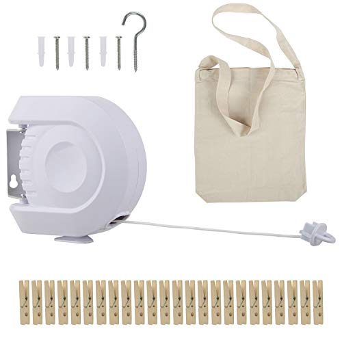 Eternal Give Retractable Clothesline Bundle Heavy Duty– Clothing Bag & Pins – Portable Wall Mount Drying Rack – White - Indoor/Outdoor Use-Kitchen/Bath/Patio