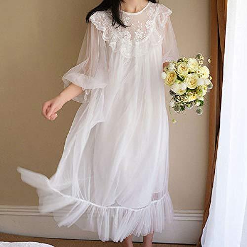 HUANSUN Nuevo patrón de camisón de Encaje Vintage de Estilo Princesa para Mujer, camisón de Malla Retro Hermoso, Bata Larga Blanca, Blanco, XL