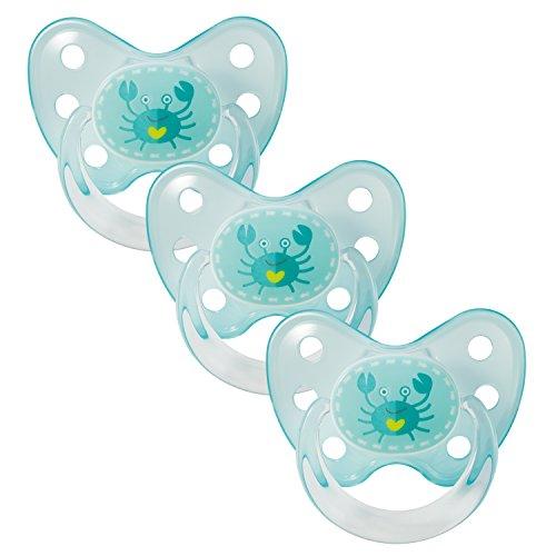 Dentistar® Schnuller 3er Set - Silikon Nuckel in Gr. 3 - ab 14 Monate - zahnfreundlich & kiefergerecht - Beruhigungssauger für Babys und Kleinkinder - Made in Germany - BPA frei - Krabbe