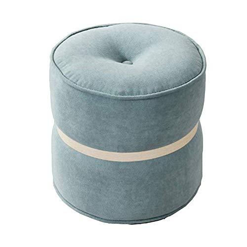 FSYGZJ Taburete para pies Taburete de sofá de Tela otomana Taburetes para Zapatos Taburete pequeño y Redondo Reposapiés Taburete para niños Sala de Estar, 6 Colores (Color: Azul, Tamaño: 34x32CM)