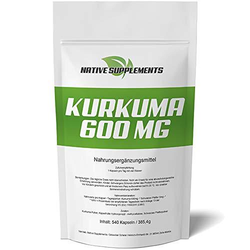 Kurkuma | Curcuma Kapseln - XXL Big Pack - 540 Kapseln - Doppelt so Stark wie Andere, Ohne Zusätze - Hochdosiert mit Curcumin & Biologischem Schwarzem Pfeffer, für Veganer & Vegetarier geeignet