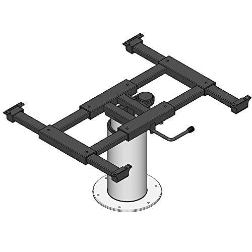 Ilse Liftsäule mit x/y Verschiebung Tisch Camping Sockel Höhenverstellbar Wohnwagen Hubtisch grau