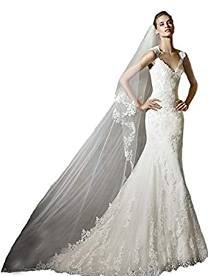 Passat 2 Tiers Soft French lace wedding veils Flowers Ivory Cathedral Bridal Veil With Comb 262