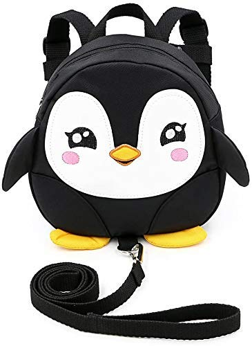 JIANGAA Toddler Children Backpack with Reins Rucksack Harness Walkers Tether Belt Penguin (Color : Black)