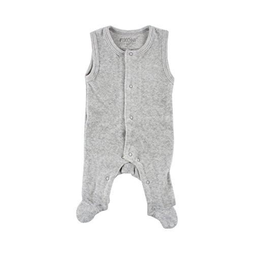 FIXONI LITTLE BEE La grenouillère pour prématuré en velours ras bébé grenouillère, gris