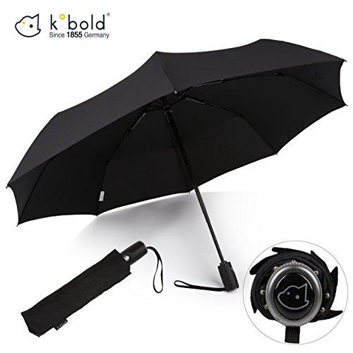 Kobold Regenschirm für Geschäftsreisen, automatisch, Winddicht, faltbar, automatischer Öffnung, stark, leicht, Schwarze Teflon-Beschichtung
