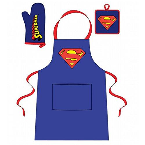 DC Comics Superman Original Keukenset Superhelden Schortset, schort, ovenhandschoen, onderzetters
