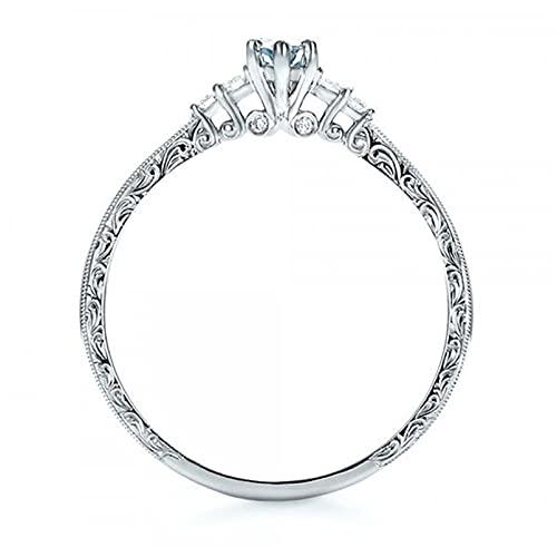 ZYYXB Anillos de compromiso para mujer, anillos de boda, anillos de imitación de aguamarina y piedras preciosas para amantes de la promesa de cristales de imitación, oro blanco