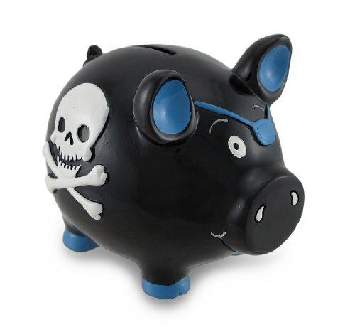 Black Pirate Pig Blue Skull & Crossbones Piggy Bank Money by Zeckos