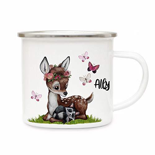 ilka parey wandtattoo-welt Emaillebecher Becher Tasse Camping REH Waschenbär mit Schmetterlinge & Wunschname Name Kaffeetasse Geschenk eb365