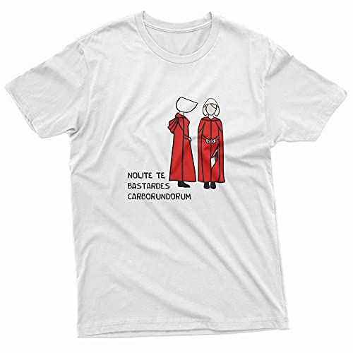 Camiseta Básica Unissex Algodão The Handmaid's Tale Serie Cartoon (Branco, P)