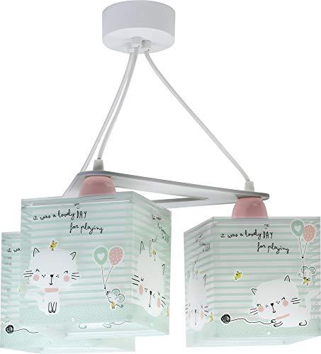 Dalber Lámpara infantil de techo 3 Luces Loving Cat gatos animales, 60 W, Verde