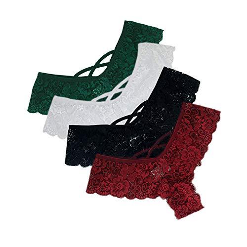Geilisungren Damen 4 Stück Mehrfarbig Unterhose Set Hipster Blumen Spitze Slips Panties Perspektive Unterwäsche Frauen Niedrige Taille G-String Dessous Tangas Höschen