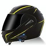 Bluetooth Integrado Casco De Moto Modular Con Doble Visera Casco De Motocicleta A Prueba De Viento Homologado ECE Para Adultos Hombres Mujeres Casco Moto Integral Para Motocicleta Yellow Lines,L