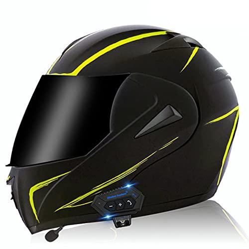 Bluetooth Integrado Casco De Moto Modular Con Doble Visera Casco De Motocicleta A Prueba De Viento Homologado ECE Para Adultos Hombres Mujeres Casco Moto Integral Para Motocicleta Yellow Lines
