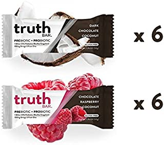 Truth Bar (Prebiotic + Probiotic) Vegan Pack, Low Sugar, Diet Support, Gluten Free, High Fiber, Kosher, Soy Free, Non-GMO Nutrition Snack Bar with Premium Dark Chocolate