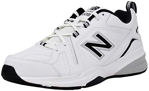 New Balance Men 608V5 Trainer Shoe, White/Black/Silver, 9.5 XW US