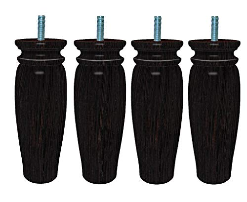 Margot Royal Rustique 4 stuks lattenbodem voeten van hout, 5,5 x 5,5 x 18 cm 5,5 x 5,5 x 15 cm Wengé