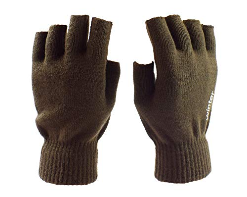 Womens Knit Fingerless Gloves Winter Driving Typing Gloves Warm Half Gloves