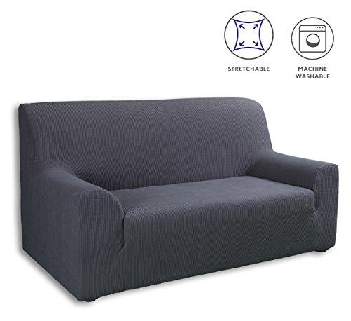 Tural Elastischer Sofabezug Valeta. Sofaüberwurf, Grau, 3 Sitzer (180-230cm)