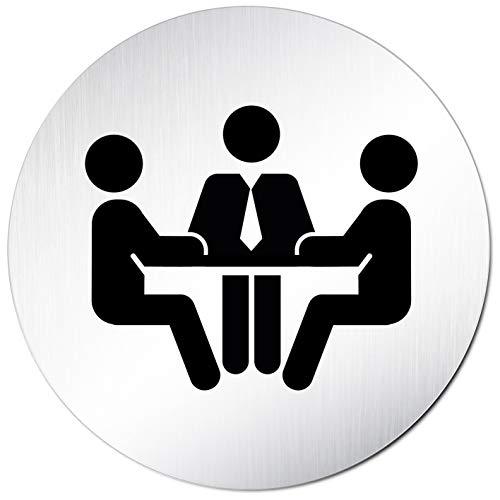 Kinekt3d Leitsysteme Türschild Hinweisschild Schild Rund 100mm Ø • Konferenz Besprechung Meeting 010 • 1,5 mm Aluminium Vollmaterial (eloxiert) • geschliffene Edelstahloptik