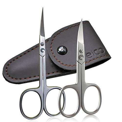 Eico Profi Nagelschere-Set - Extra scharfe Premium Nagelschere und Hautschere mit gebogenen Schneiden und Etui - Für Fingernägel - auch Linkshänder geeignet (Nagelschere + Hautschere)