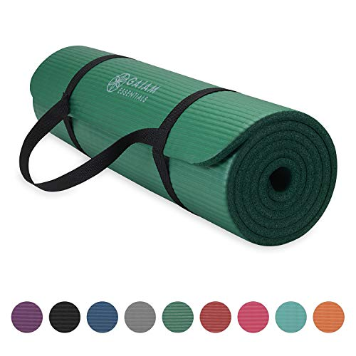 Gaiam Essentials Thick Yoga Mat Fitness & Exercise Mat with Easy-Cinch Yoga Mat Carrier Strap, Green, 72 InchL x 24 InchW x 2/5 Inch Thick