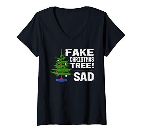 Womens Fake Christmas Tree! Sad - Trump Meme Funny Holiday V-Neck T-Shirt