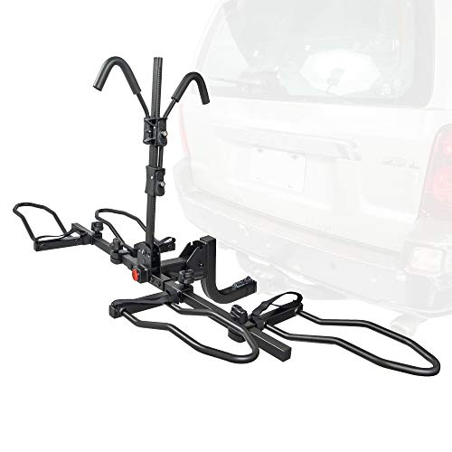 Overdrive Sport 2-Bike Hitch Mounted Rack - Smart Tilting, Platform Style Standard, Fat Tire, Electric Bikes - 2' Hitch - Ratchet Version