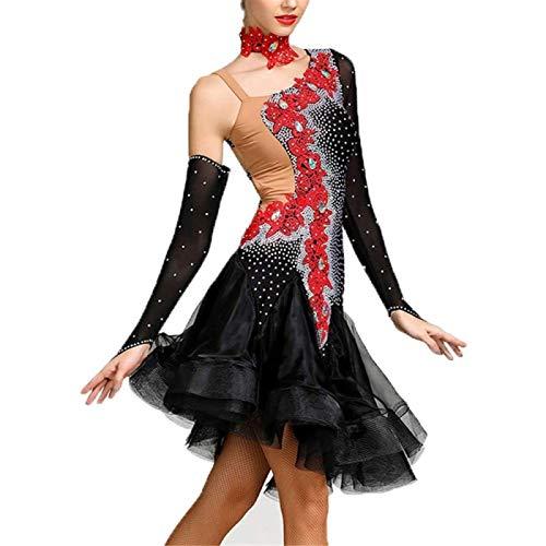ZHANG Vestido De Baile para Mujer Vestido De Baile con Flecos Asimétrico Y Manga Corta Latina A Juego,Large
