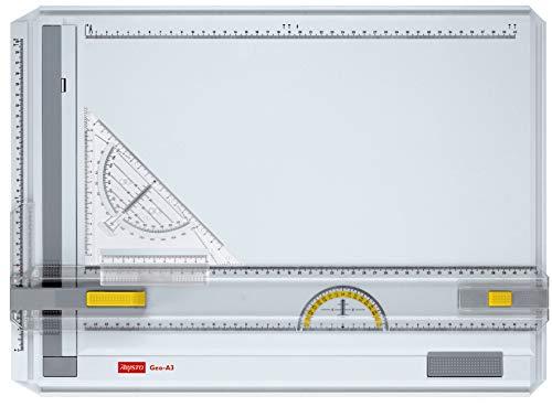 Aristo AR7033 Geo-Board Zeichenplatte (Format: A3, schlagfester Kunststoff, inkl. Schnellzeichendreieck AR7090) weiß