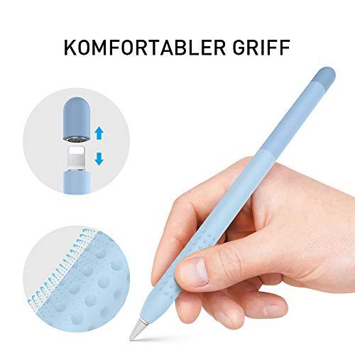 Delidigi Farbverlauf Hülle Silikon Case Schutzhülle Griff Zubehör Kompatibel mit Apple Pencil 1.Generation (Blau)