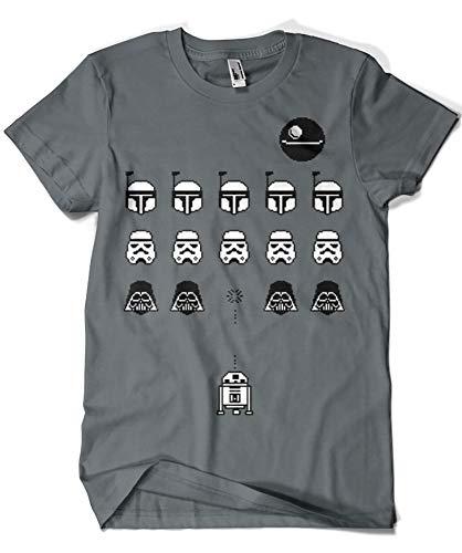 Camisetas La Colmena 1349-Camiseta Space Wars (Karlangas) (XL, Charcoal)
