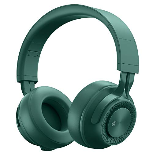 Bluetooth Headphones Noise Canceling Green Over Ear Headphones Wireless for TV,Wired Headphones Hi-Fi Stereo Foldable Soft Memory-Protein Earmuffs,Headset Buit in Mic for Online Class/PC/Phones