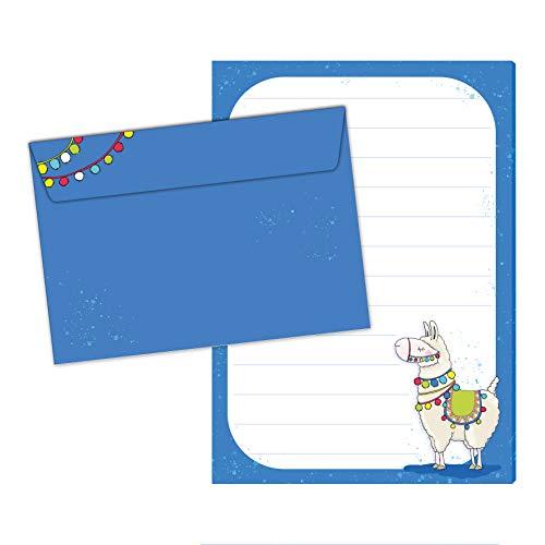 Bloc de cartas 'Alma das Lama' DIN A5 (50 hojas a rayas), incluye 20 sobres a juego para niños con líneas y bonito diseño.