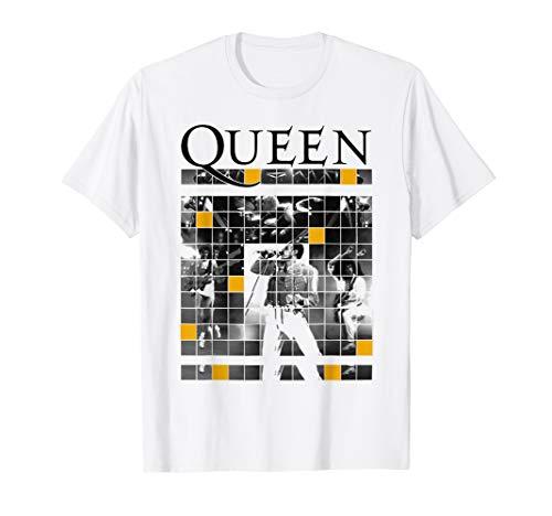 Queen Live in Concert Blocks Lightweight T-shirt, White for Men, Women and Kids Sizes