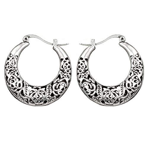 N/A Vintage Tribal Flower Heart Damen Anhänger Party Geometric Gold Silber Metall Tropfen Ohrringe 6750-Silber