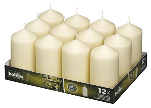 BOLSIUS Set of 12 Ivory Pillar Candles - Unscented Candle Set - 2.75-x 5-inch Dripless Clean Burning Smokeless Dinner Candle - Perfect for Wedding Candles, Parties and Special Occasions