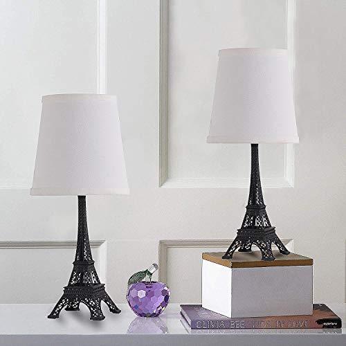 SHACOS Eiffelturm Lampe 2er Set Tischlampe Metall Schwarz Vintage Tischleuchte Deko Wohnzimmer Nachtischlampen Schlafzimmer