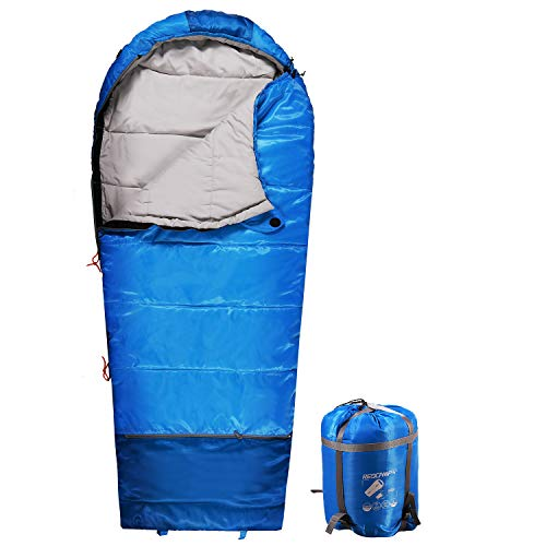 REDCAMP Kids Mummy Sleeping Bag for Camping Zipped Small, 40 Degree 3 Season Cold Weather Fit Boys,Girls & Teens (Blue with 2.4lbs Filling)