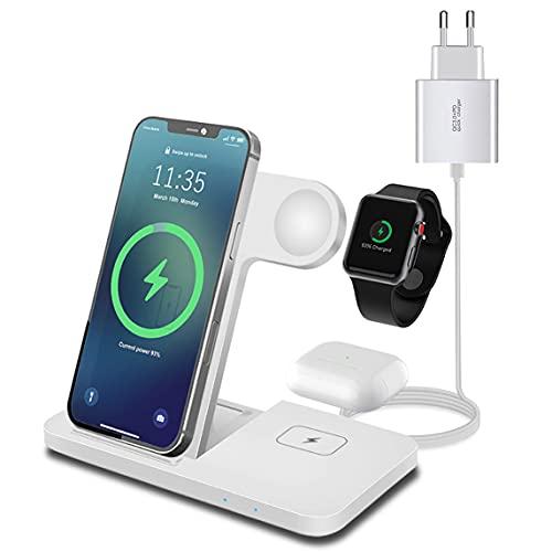 Cargador inalámbrico 3 en 1 de 15 W Qi, cargador inalámbrico (adaptador QC3.0 incluido) compatible con iPhone 12/11/X/XR/XS/8; carga de inducción para Apple iWatch 6/SE/5/4/3/2 y Airpods 2/Pro