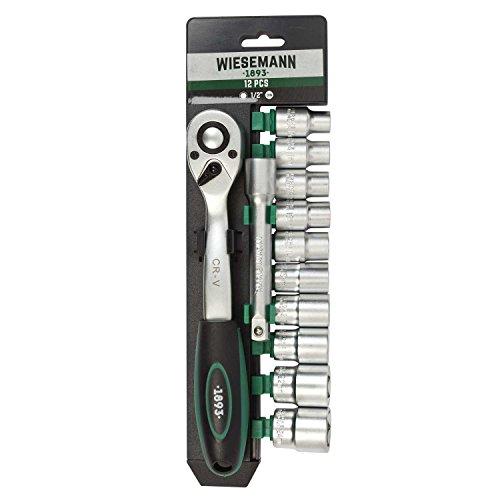 Steckschlüsselsatz 12tlg mit 1/2' Knarre, 10mm - 24mm Sechskant Bit Einsätze und Verlängerung...