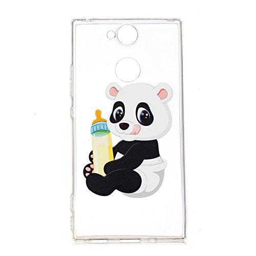 Robinsoni pour Sony Xperia XA2 Coque,Sony Xperia XA2 Coque Silicone Transparente avec Motif Housse de Protection Crystal Clear TPU Souple Bumper Case Etui pour Sony Xperia XA2,Panda bébé