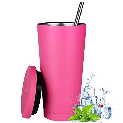 Aiboria Vaso de viaje de 500 ml, fino, con tapa, aislamiento al vacío, doble pared de acero inoxidable 18/8 para café, té, bebidas (rosa)