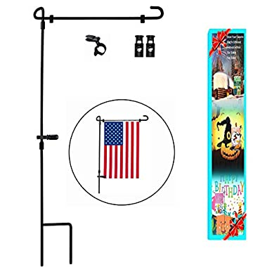 Garden Flag Stand, Premium Garden Flag Pole Holder Metal Powder-Coated Weather-Proof Paint 36.5  H x 16.5  W with one Tiger Anti-Wind Clip and Two Anti-Wind Spring Stoppers (A)
